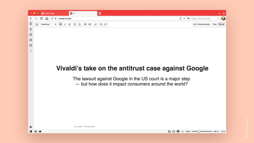 Vivaldi browser on the Google antitrust case