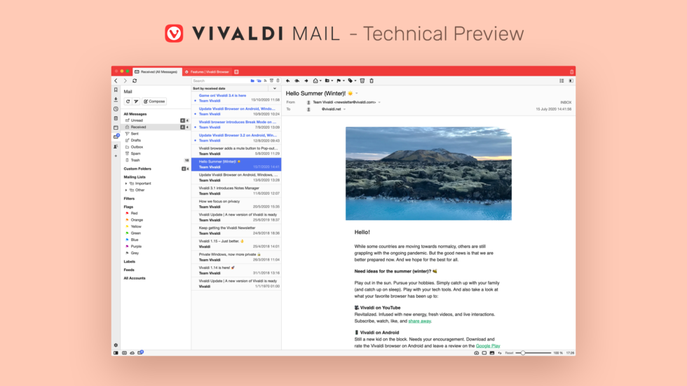 Vivaldi Mail Technical Preview