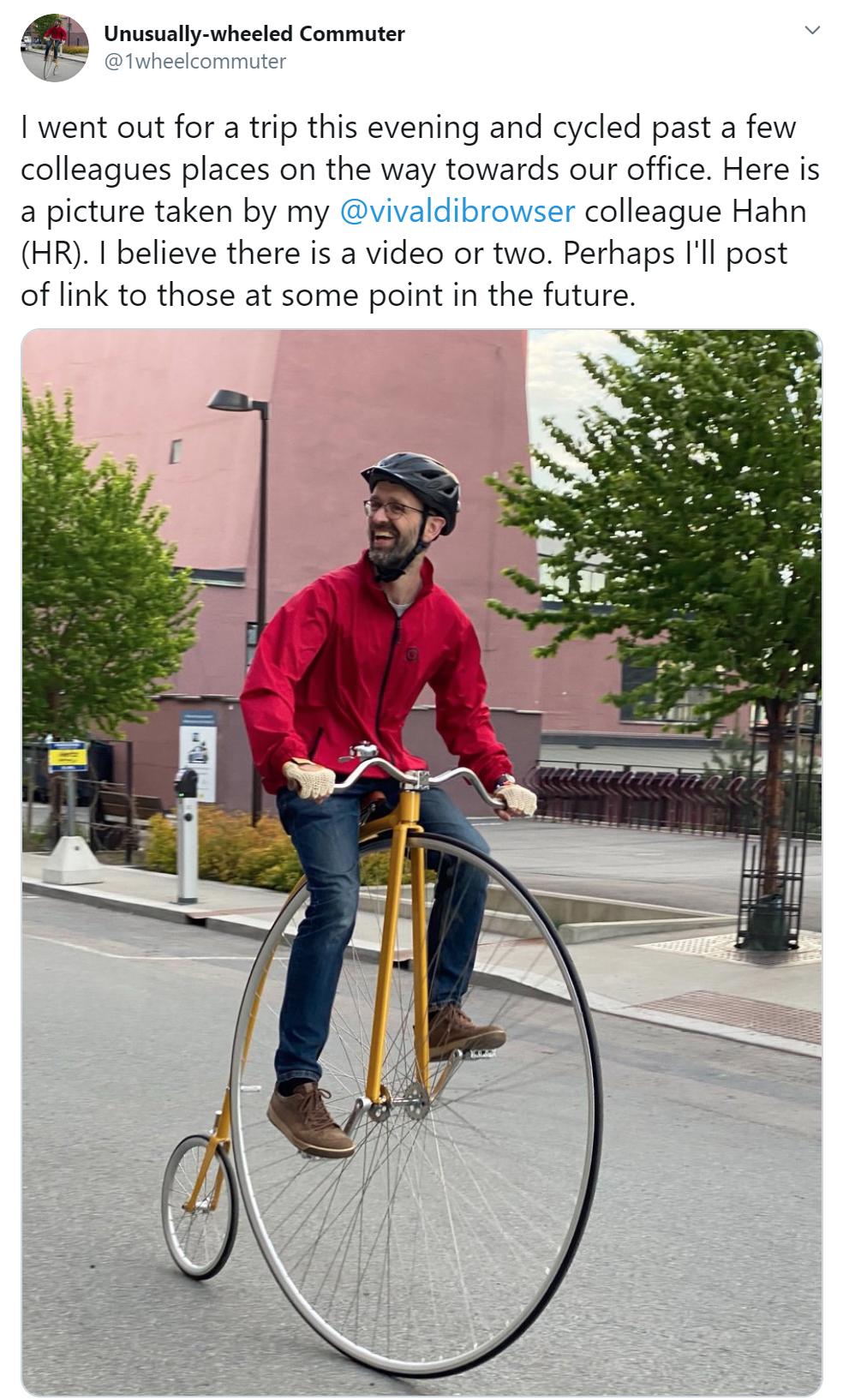 Ruari from Vivaldi on a high wheeler bicycle.