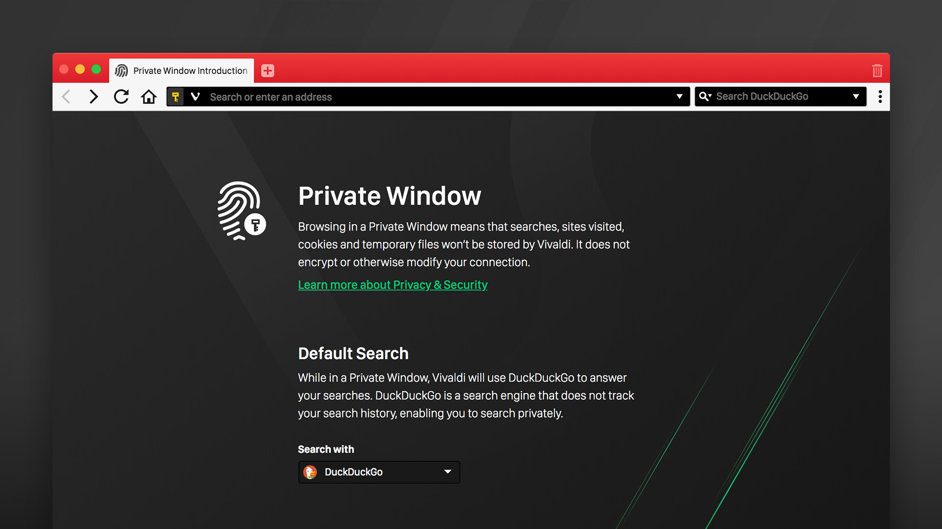 Private mode in Vivaldi browser, showing the option to select a separate default search engine for Private Windows.