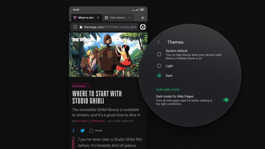 Темная тема и темный режим в браузере Vivaldi Android