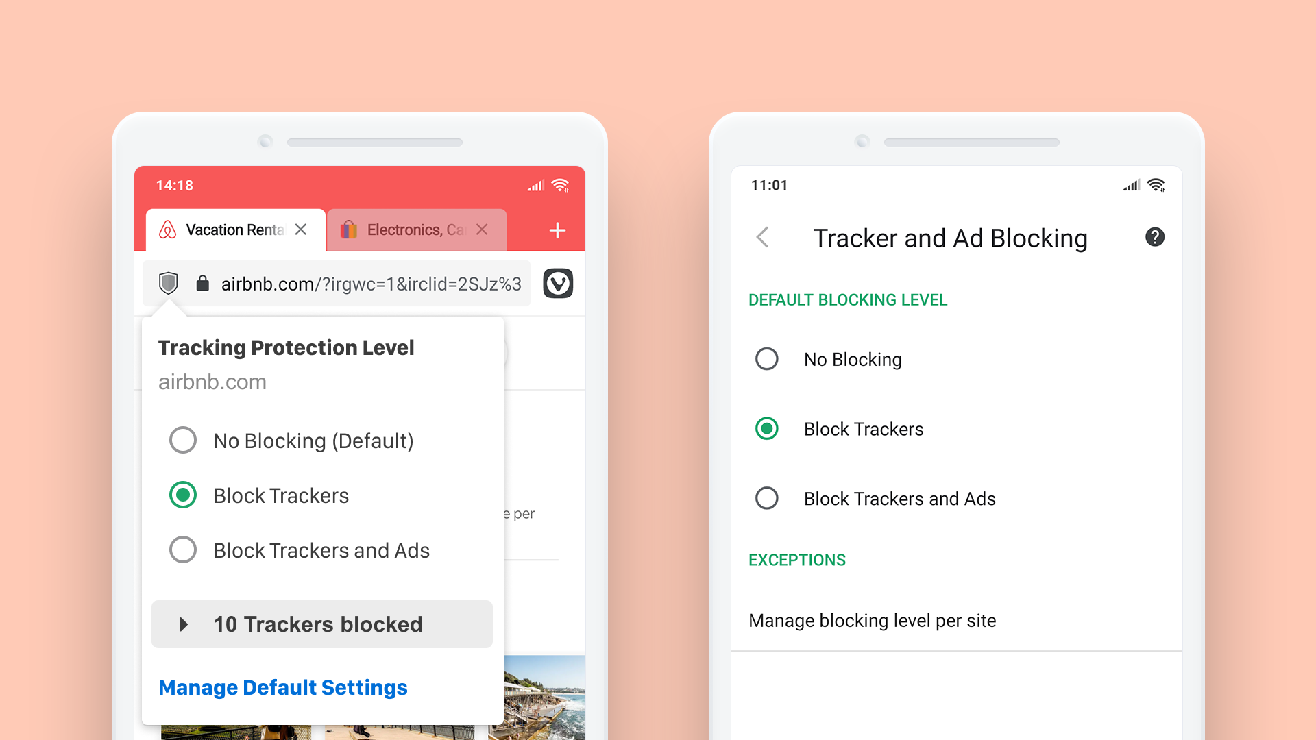 Browse privately with built-in Ad and Tracker blocker