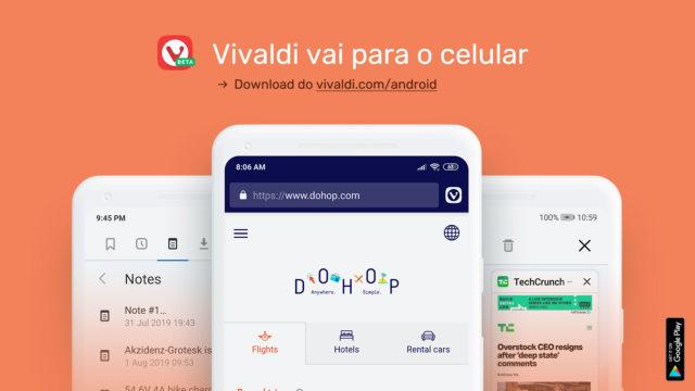 O navegador Vivaldi lança uma versão beta su Android