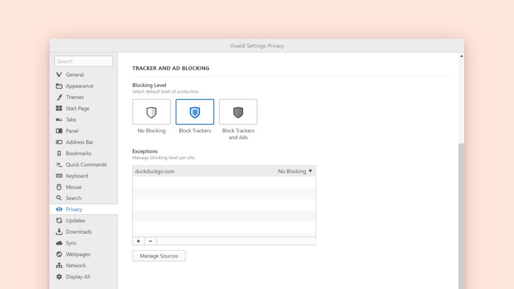Настройки приватности в браузере Vivaldi