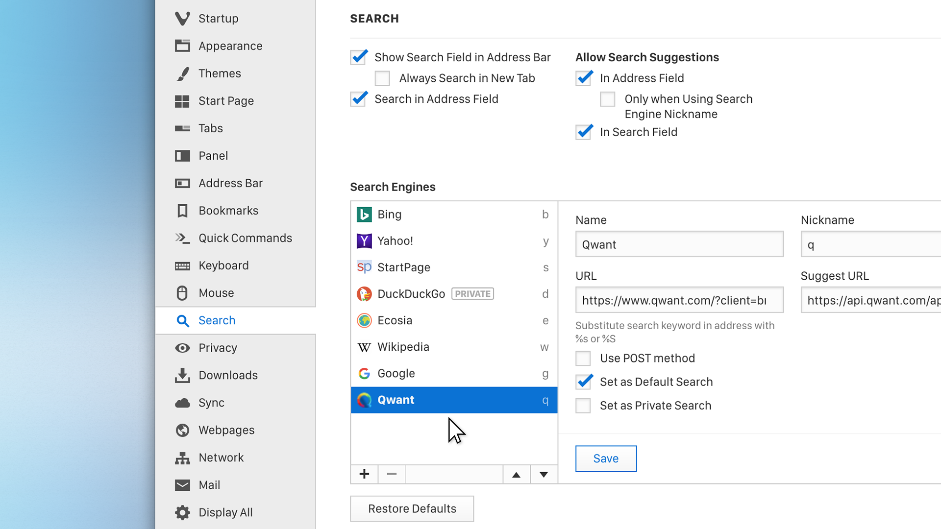 Search settings in the Vivaldi browser include a number of privacy-friendly options like DuckDuckGo, Qwant and StartPage.