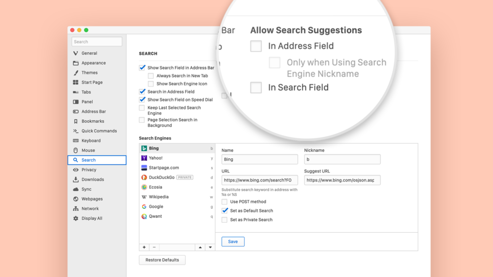Search suggestions menu in Vivaldi