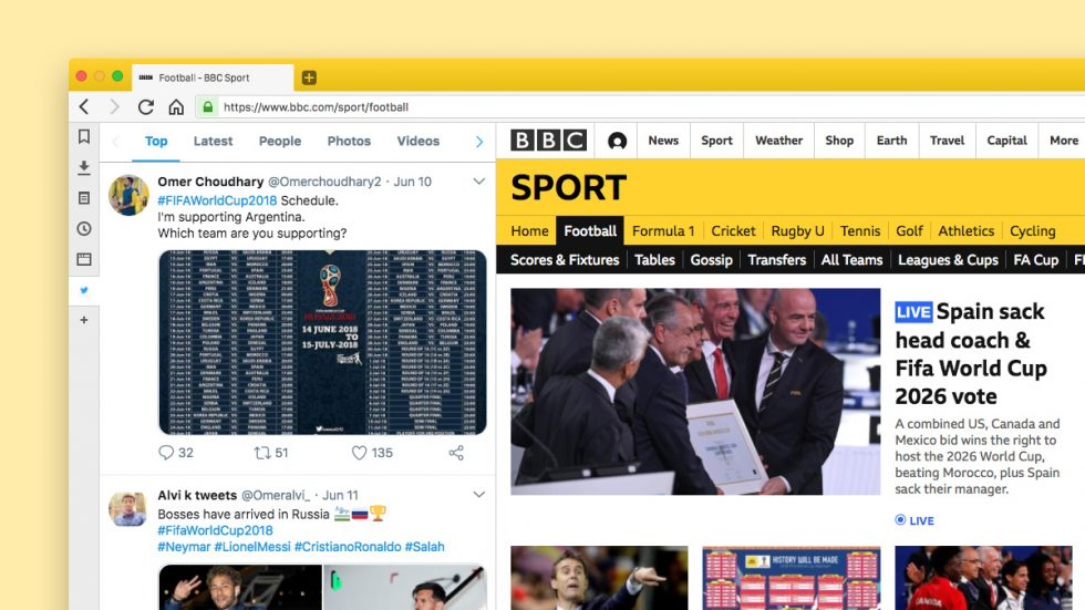 Keeping track of sports scores in Web Panel