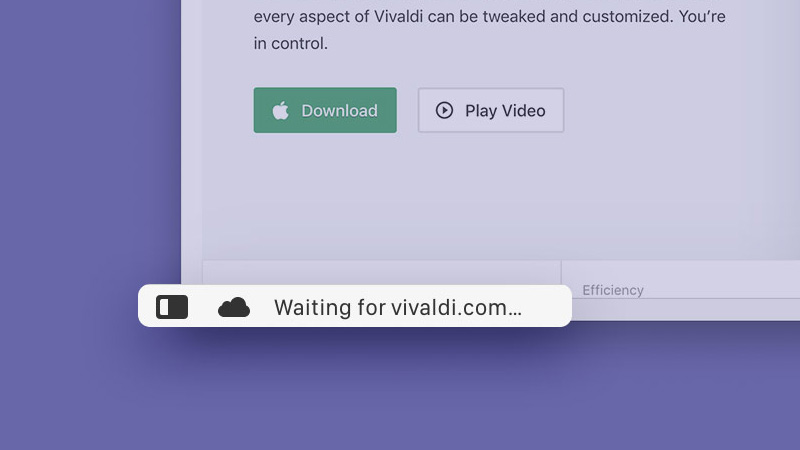 Page load status in Vivaldi browser