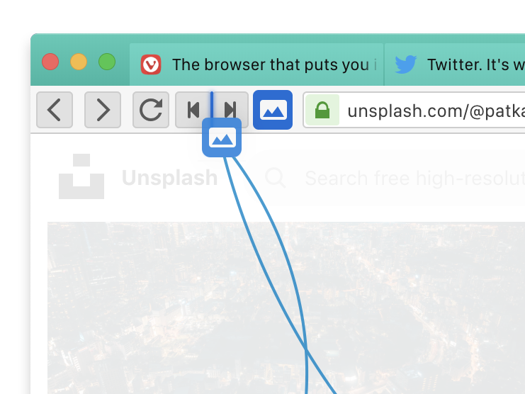Drag and drop icons in Vivaldi browser's toolbars